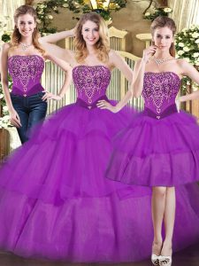 Eggplant Purple Tulle Lace Up 15 Quinceanera Dress Sleeveless Floor Length Beading and Ruffled Layers