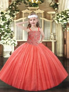 Tulle Straps Sleeveless Lace Up Beading Pageant Gowns For Girls in Coral Red