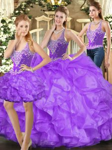 Modern Straps Sleeveless Lace Up Ball Gown Prom Dress Eggplant Purple Tulle