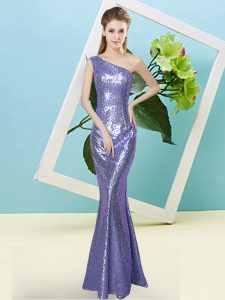 Gorgeous Sleeveless Floor Length Sequins Zipper Prom Party Dress with Lavender