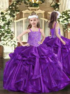 Unique Straps Sleeveless Lace Up High School Pageant Dress Purple Organza