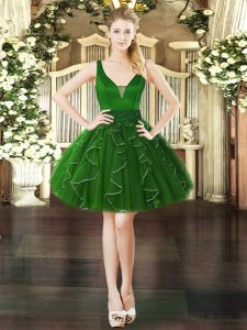 Fine Dark Green Organza Lace Up V-neck Sleeveless Mini Length Prom Dresses Beading and Ruffles