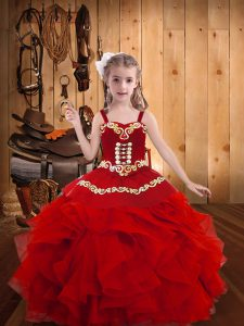 Cheap Red Ball Gowns Embroidery and Ruffles Girls Pageant Dresses Lace Up Organza Sleeveless Floor Length