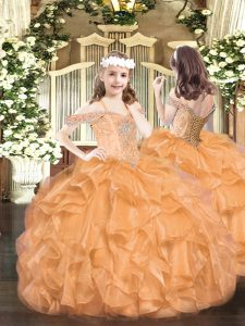 Simple Sleeveless Organza Floor Length Lace Up Pageant Dress for Teens in Orange with Beading and Ruffles