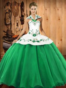Low Price Floor Length Lace Up 15 Quinceanera Dress Green for Military Ball and Sweet 16 and Quinceanera with Embroidery