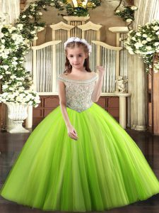 Yellow Green Ball Gowns Tulle Off The Shoulder Sleeveless Beading Floor Length Lace Up Little Girl Pageant Gowns