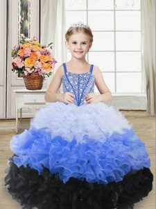 Multi-color Organza Lace Up High School Pageant Dress Sleeveless Floor Length Beading and Ruffles