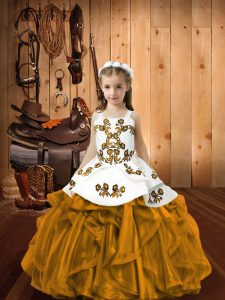 Customized Sleeveless Floor Length Embroidery and Ruffles Lace Up Little Girls Pageant Dress Wholesale with Brown