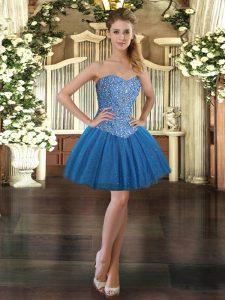 Captivating Sweetheart Sleeveless Tulle Prom Dress Beading Lace Up
