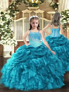 Teal Sleeveless Floor Length Embroidery and Ruffles Lace Up Custom Made Pageant Dress