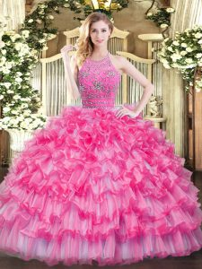 Sleeveless Floor Length Beading and Ruffled Layers Zipper 15 Quinceanera Dress with Hot Pink