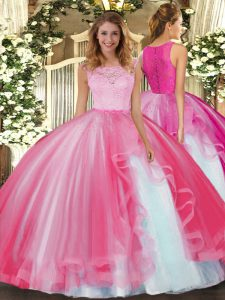 Free and Easy Ball Gowns Quinceanera Gown Hot Pink Scoop Tulle Sleeveless Floor Length Clasp Handle
