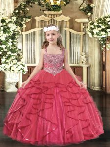 Sleeveless Floor Length Beading and Ruffles Lace Up Little Girls Pageant Dress Wholesale with Coral Red