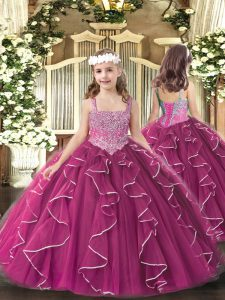 Floor Length Fuchsia Pageant Dress Wholesale Straps Sleeveless Lace Up