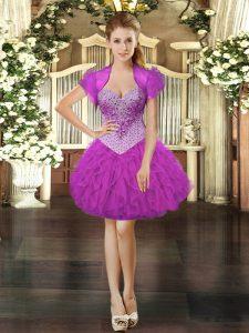 Fuchsia Sleeveless Beading and Ruffles Mini Length Prom Party Dress