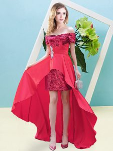 Long Sleeves Elastic Woven Satin and Sequined High Low Lace Up Prom Dress in Coral Red with Beading