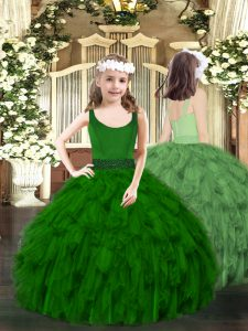 New Style Ball Gowns Pageant Gowns Dark Green Scoop Organza Sleeveless Floor Length Zipper