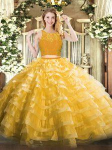 Floor Length Ball Gowns Sleeveless Gold Ball Gown Prom Dress Zipper