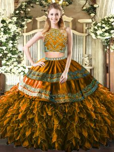 Brown Tulle Zipper High-neck Sleeveless Floor Length Quinceanera Gown Beading and Ruffles