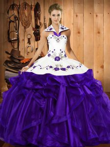 Glorious Sleeveless Organza Floor Length Lace Up Sweet 16 Quinceanera Dress in Purple with Embroidery and Ruffled Layers