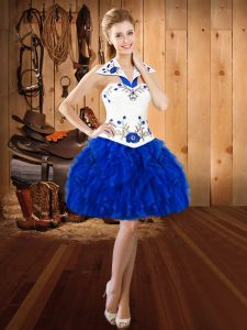 Fashionable Royal Blue Ball Gowns Embroidery and Ruffles Prom Dress Lace Up Organza Sleeveless Mini Length