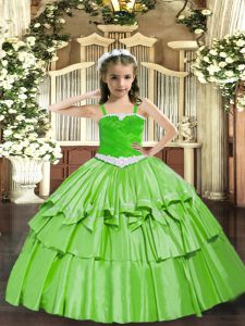 Appliques and Ruffled Layers Little Girls Pageant Gowns Lace Up Sleeveless Floor Length