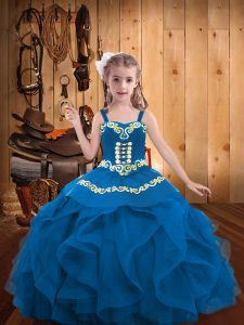 Sleeveless Floor Length Embroidery and Ruffles Lace Up Little Girls Pageant Dress Wholesale with Blue
