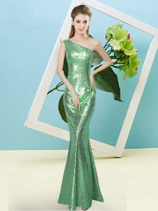 Floor Length Zipper Turquoise for Prom and Party with Sequins