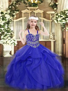 Glorious Beading and Ruffles Little Girls Pageant Gowns Blue Lace Up Sleeveless Floor Length