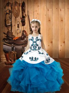 Baby Blue Ball Gowns Embroidery and Ruffles Girls Pageant Dresses Lace Up Organza Sleeveless Floor Length