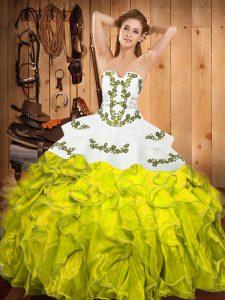 Floor Length Ball Gowns Sleeveless Yellow Green Sweet 16 Dress Lace Up