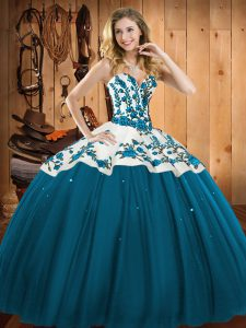Teal Ball Gowns Embroidery Quinceanera Dress Lace Up Satin and Tulle Sleeveless Floor Length
