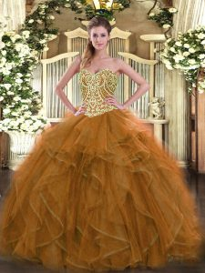 Beautiful Brown Sweet 16 Dresses Military Ball and Sweet 16 and Quinceanera with Beading Sweetheart Sleeveless Lace Up