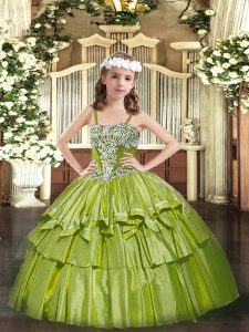 Cute Straps Sleeveless Lace Up Pageant Dress for Womens Olive Green Organza