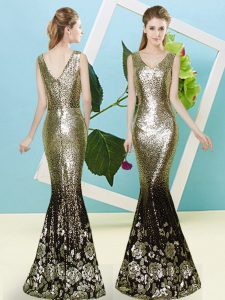 Exceptional V-neck Sleeveless Homecoming Dress Floor Length Sequins Gold Sequined