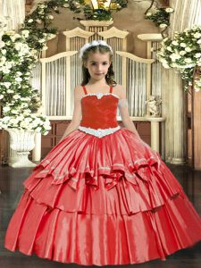 Elegant Coral Red Ball Gowns Appliques and Ruffled Layers Pageant Gowns For Girls Lace Up Organza Sleeveless Floor Lengt