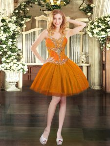 Tulle Sweetheart Sleeveless Lace Up Beading Dress for Prom in Orange