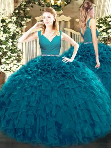 Teal Quinceanera Dress Military Ball and Sweet 16 and Quinceanera with Beading and Ruffles V-neck Sleeveless Zipper