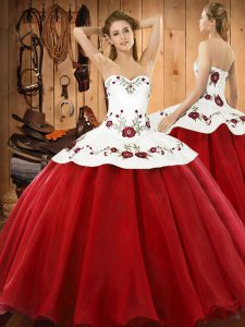Wine Red 15th Birthday Dress Military Ball and Sweet 16 and Quinceanera with Embroidery Halter Top Sleeveless Lace Up