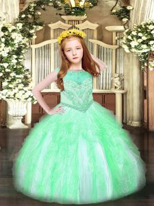 Apple Green Organza Zipper Pageant Dress for Teens Sleeveless Floor Length Beading and Ruffles