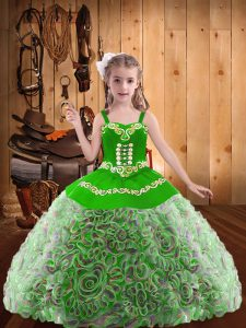 Exquisite Sleeveless Floor Length Embroidery and Ruffles Lace Up Little Girls Pageant Gowns with Multi-color