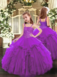 Purple Sleeveless Floor Length Beading and Ruffles Lace Up Little Girls Pageant Dress