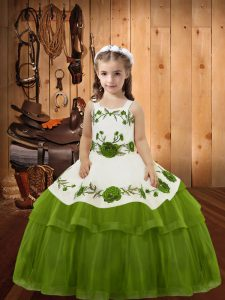 Organza Sleeveless Floor Length Girls Pageant Dresses and Embroidery and Ruffled Layers