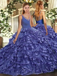 Lavender Sleeveless Floor Length Beading and Ruffles Backless 15 Quinceanera Dress