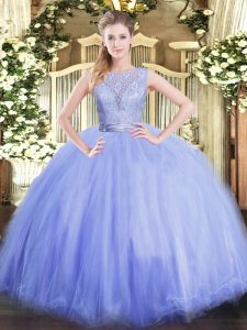 Scoop Sleeveless Quinceanera Gowns Floor Length Lace Lavender Tulle