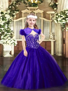 Purple Straps Neckline Beading Girls Pageant Dresses Sleeveless Lace Up