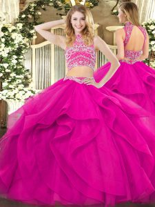 Fuchsia Two Pieces Tulle High-neck Sleeveless Beading and Ruffles Floor Length Backless Ball Gown Prom Dress