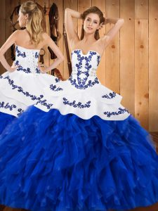 Hot Sale Sleeveless Floor Length Embroidery and Ruffles Lace Up Quinceanera Gowns with Royal Blue