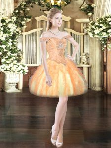Artistic Tulle Sleeveless Mini Length Prom Dress and Beading and Ruffles