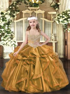Gorgeous Brown Ball Gowns V-neck Sleeveless Organza Floor Length Lace Up Beading and Ruffles Little Girl Pageant Dress